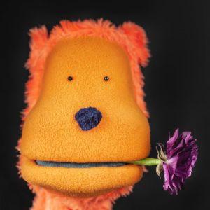 Den oransje hånd-dukken <q>Kriserådgiver</q> med en blomst i munnen
