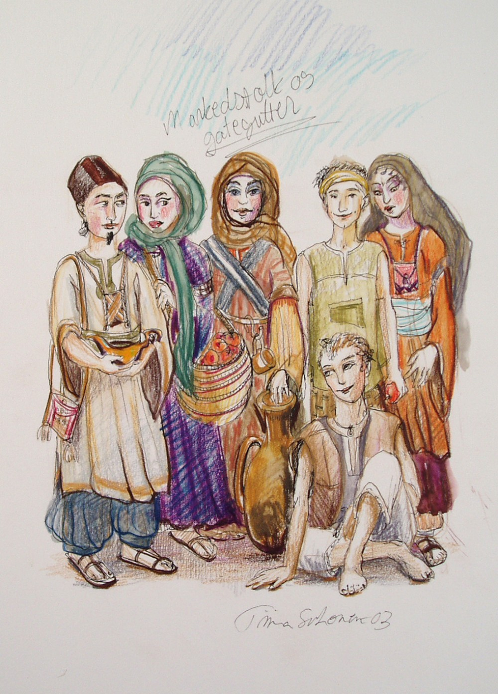 A multi-coloured sketch of market sellers in ancient Baghdad