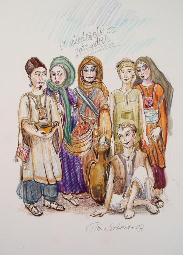 En flerfarget skisse av markedsselgere i antikkens Bagdad