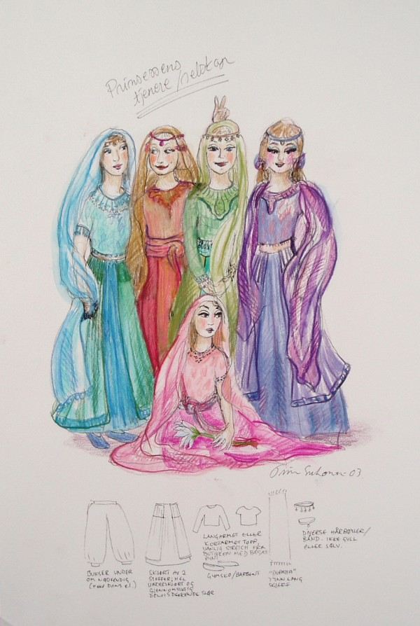 A multi-coloured sketch of the princess´ servants in Baghdad