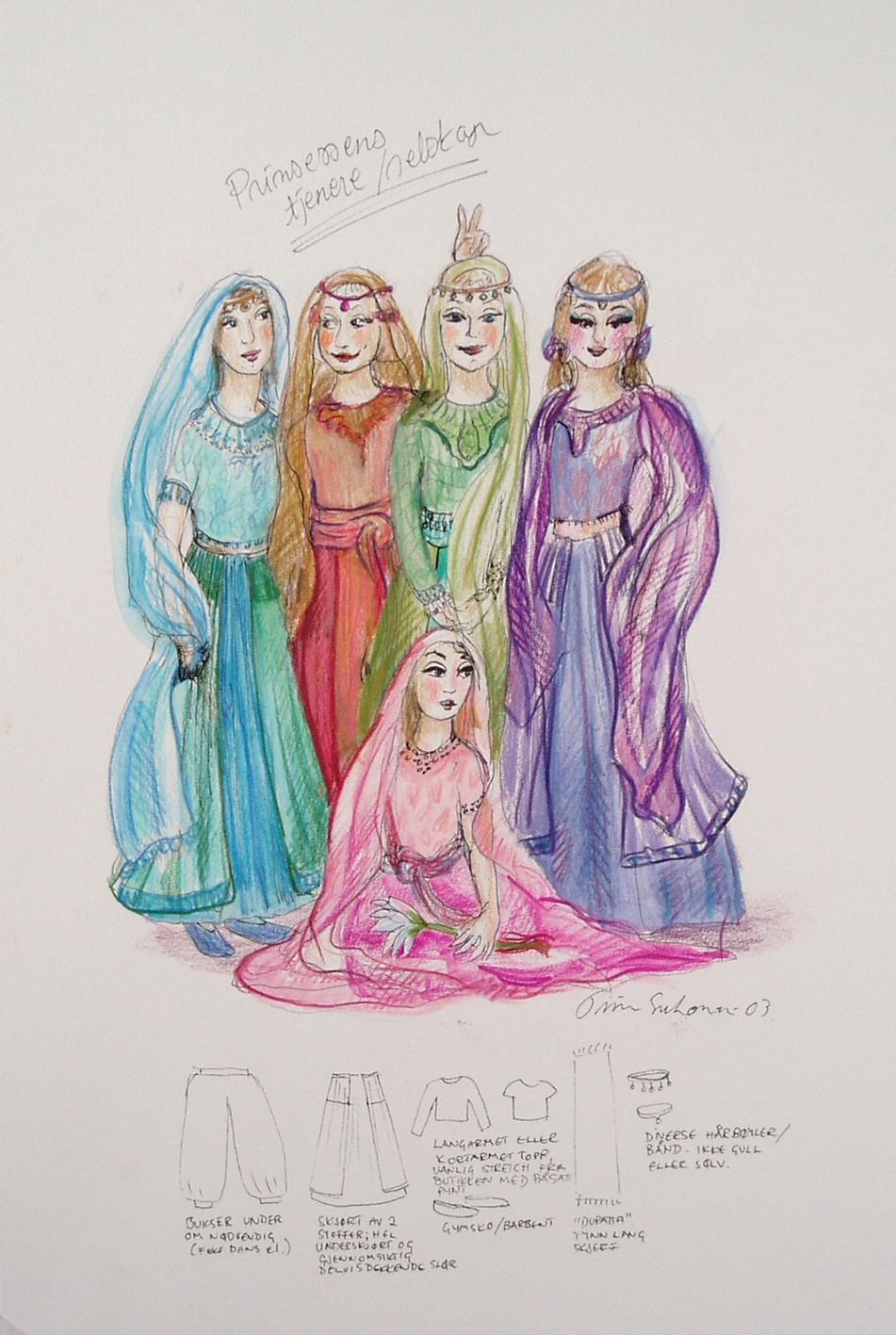 En flerfarget skisse av prinsessens tjenere i Bagdad