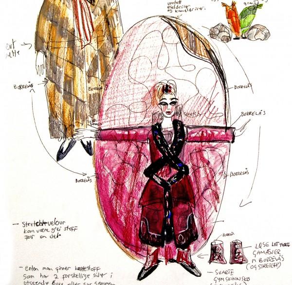 En skisse av en jente i et rødt flerbrukskostyme