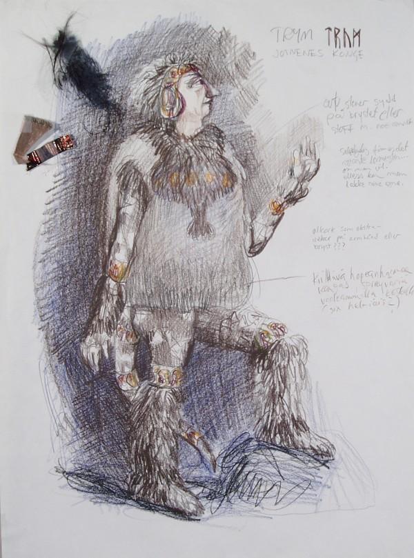 Et grått kostyme med pels og glitter til karakteren Trym