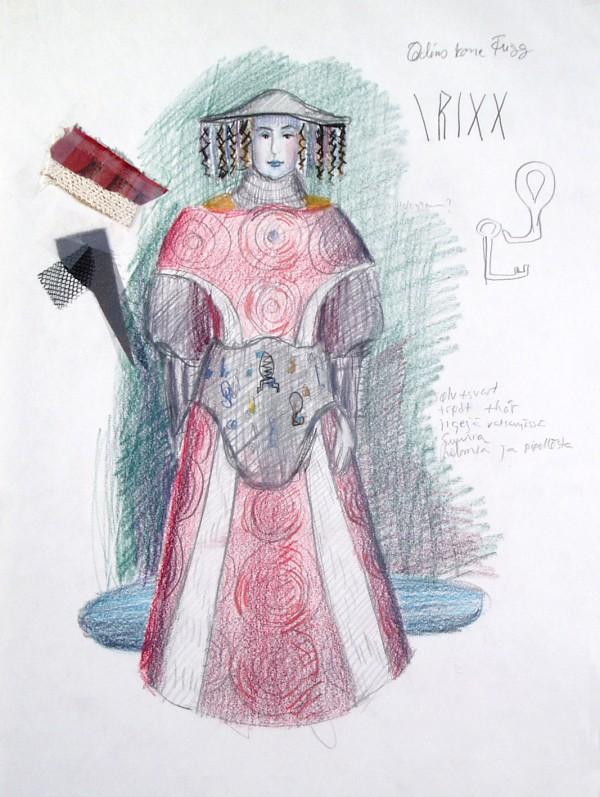En skisse av Frigg-kostymet inkludert en lang rød og hvit kjole med bredt belte og hatt
