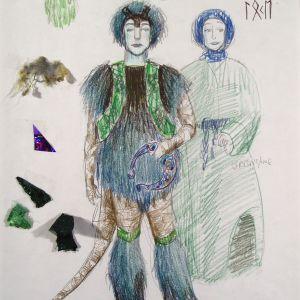 Et blått og grønt kostyme med pels og glitter til karakteren Loke