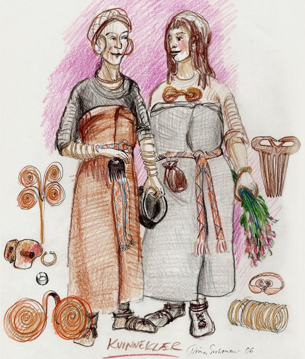 To kvinner ikledd bronsealderkostymer og bronsesmykker