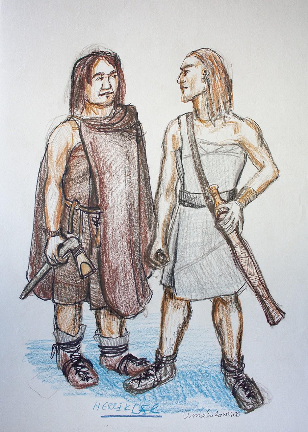 To menn ikledd bronsealderkostymer med kapper og sko. Den ene mannen er utstyrt med et sverd og den andre med en øks.