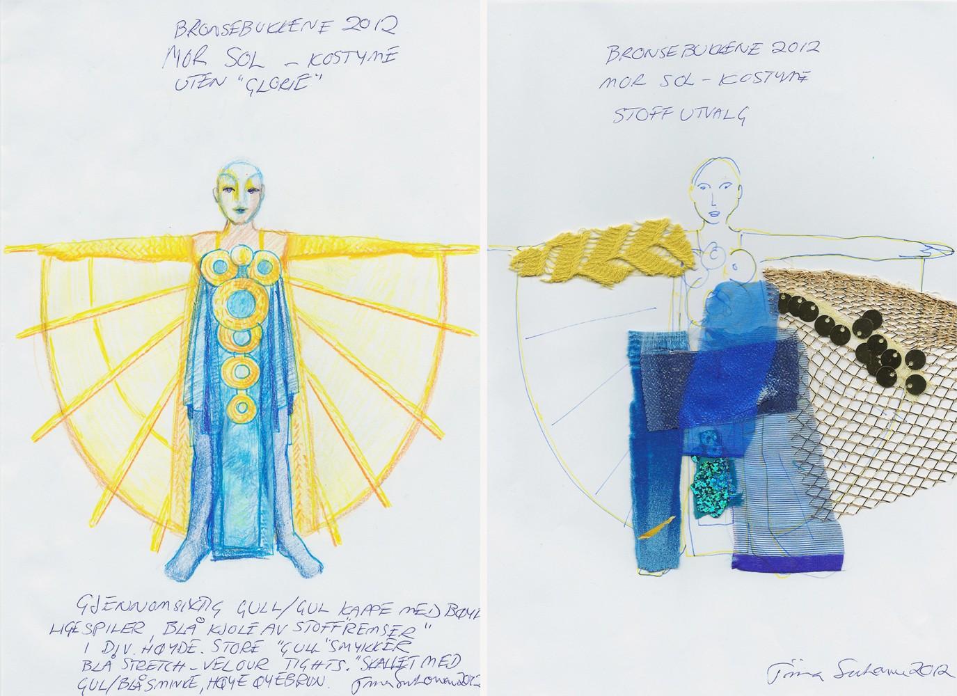 En skisse til en drakt for karakteren Moder Sol; blå kjole, gul kappe og sirkeldetaljer