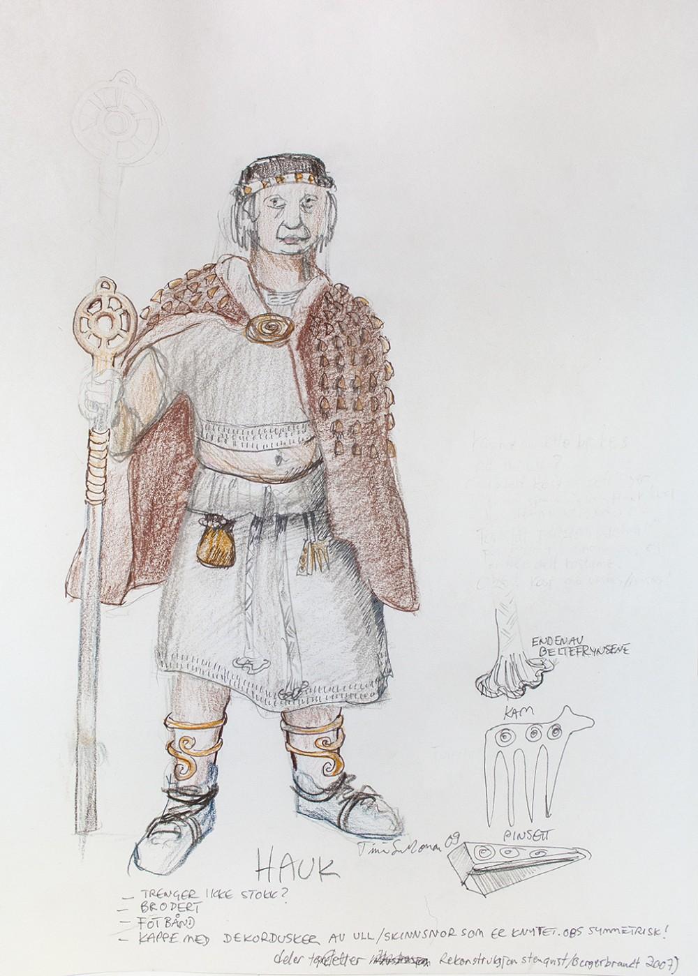 Bronsealdermann med brun kappe og en magisk stav