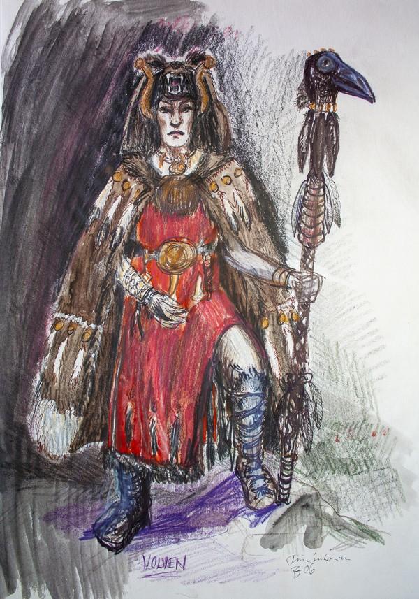 En skisse av et Volven-kostyme inkludert en rød kjole, pelskappe og en stav med et kråkehode