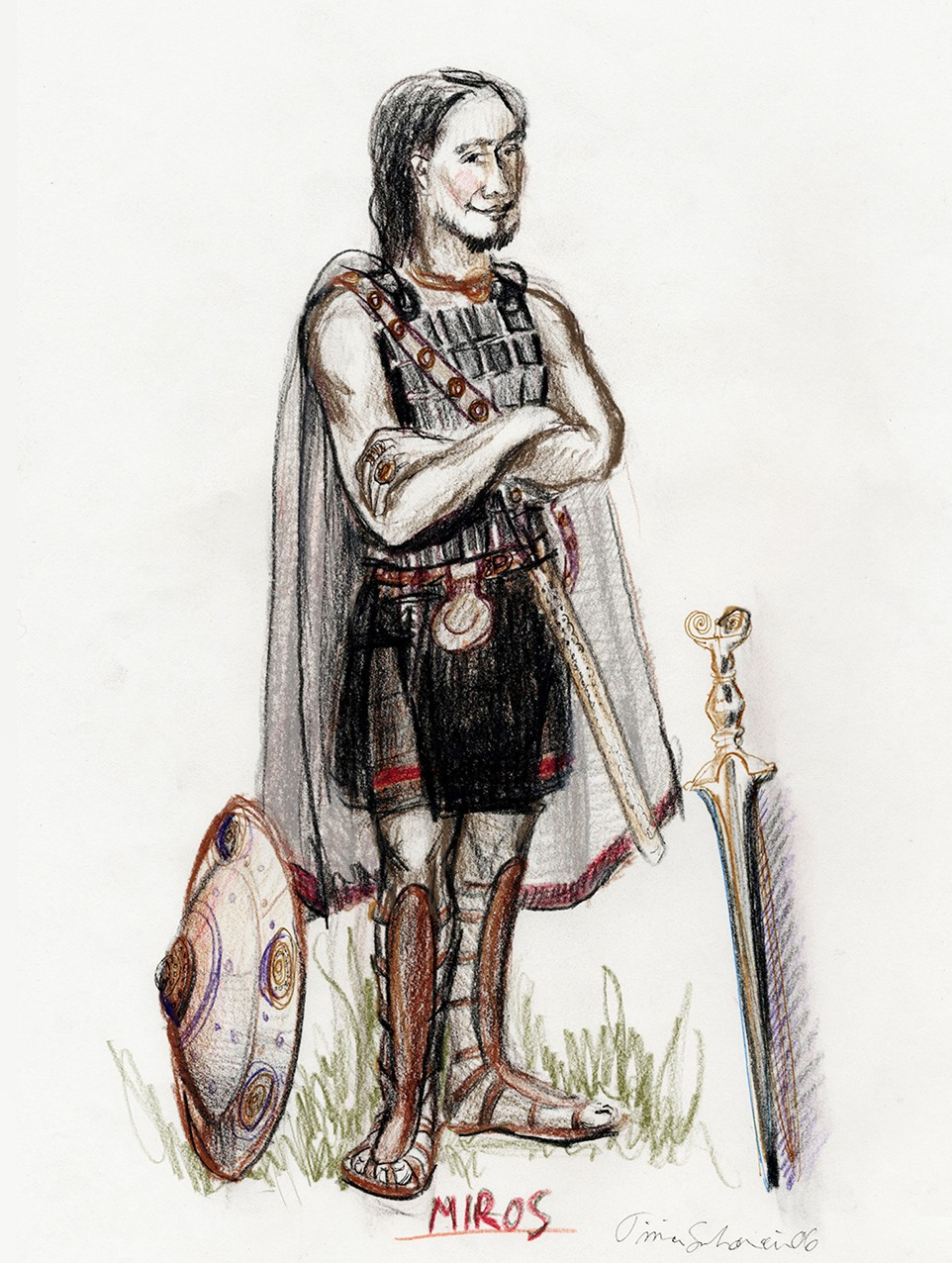 A costume sketch; soldier from ancient Greece