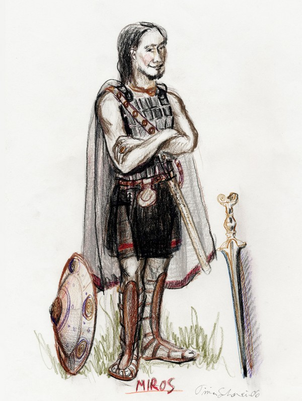 Skisse; soldat fra antikkens Hellas. Miros er en karakter som besøker den nordiske bronsealderstammen.