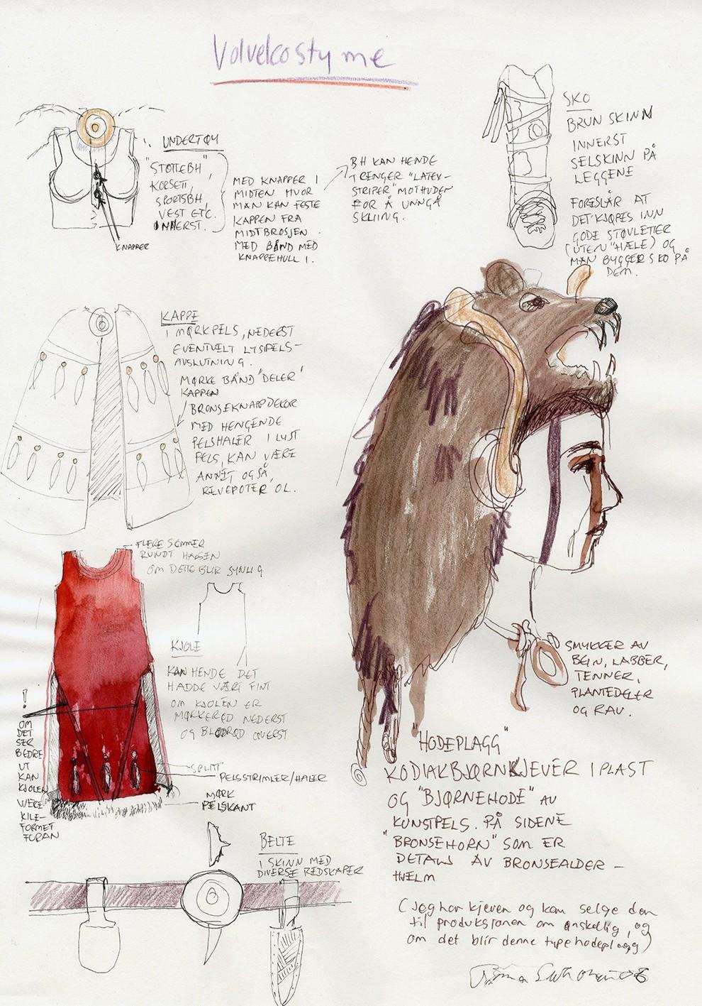 Skisse; kostyme til Volven dekorert med et stort bjørnehode