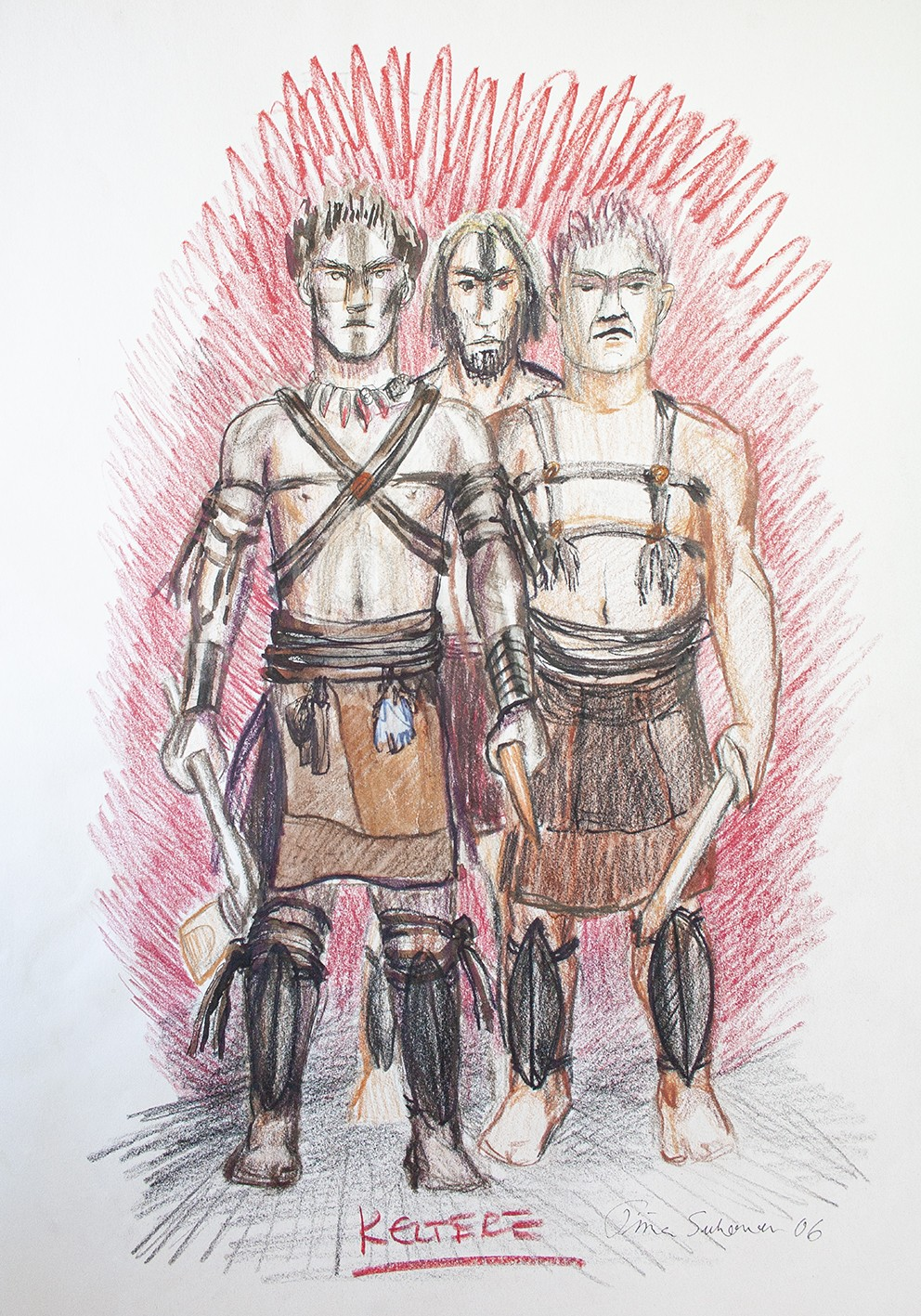 Three men wearing Bronze Age Celtic fighter costumes with leather straps and shin protectors. The men are equipped with axes.