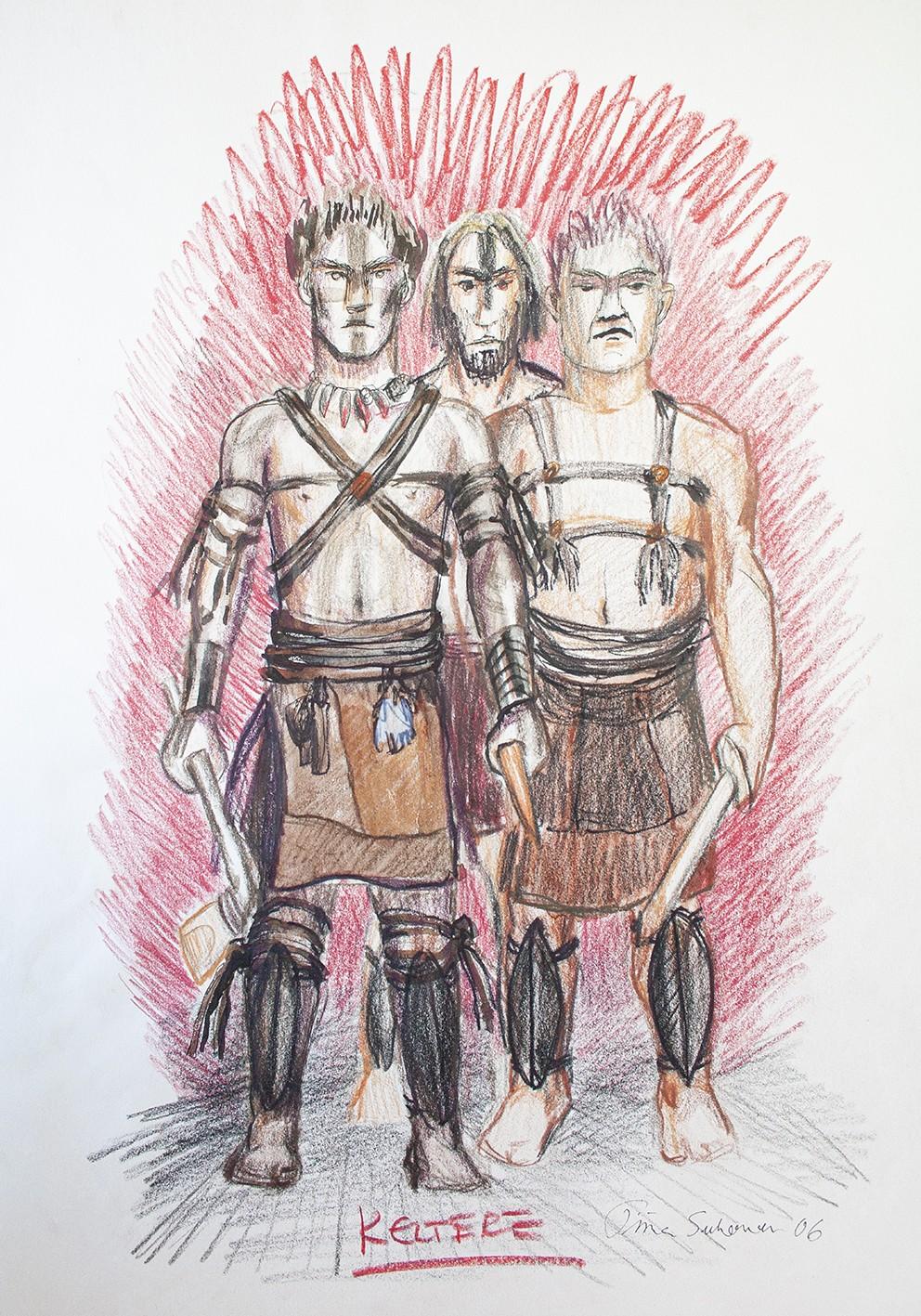 Tre menn ikledd keltisk jaktdrakt fra bronsealderen med lærreimer og leggskinn. Mennene er utstyrt med økser.