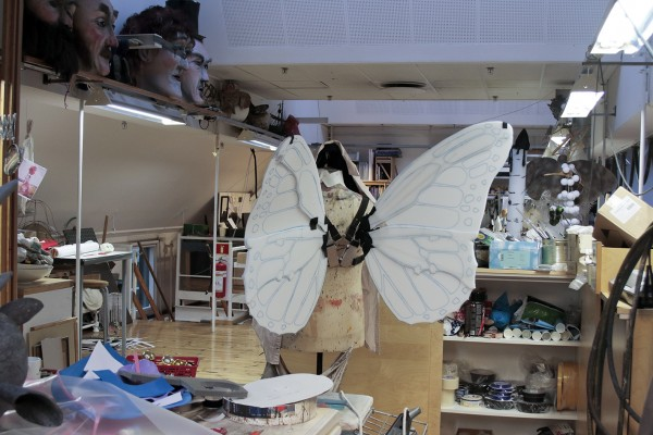Butterfly wings during production at the studio