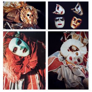 A photo collage of carnival masks in red, white and gold