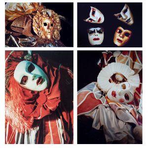En fotokollasje av karnevalmasker i rødt, hvitt og gull