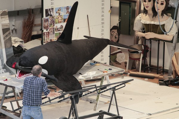 The large killer whale at the theatre workshop