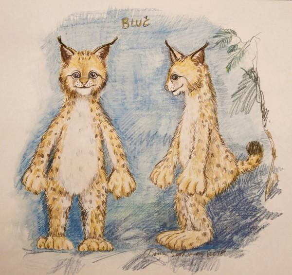 En skisse av Bluč, forfra og profil