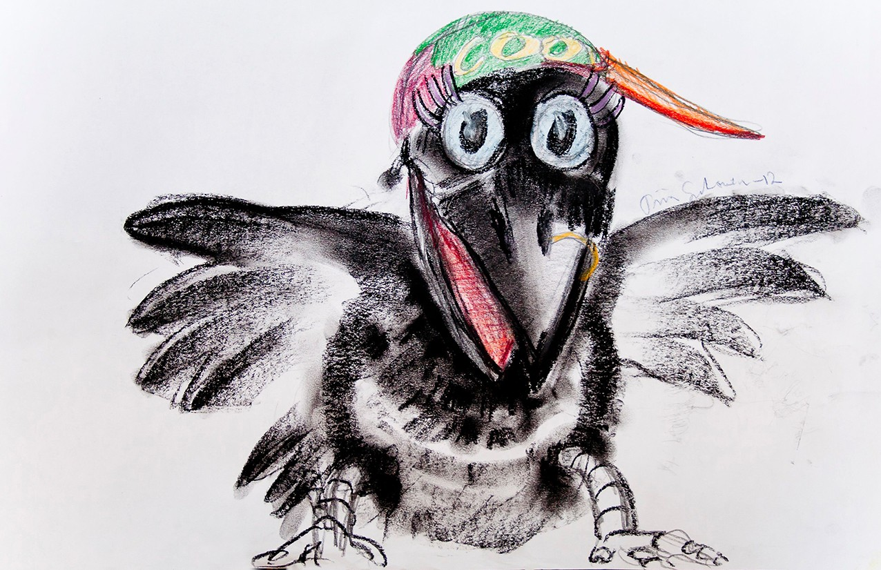 Sketch of a crow puppet with a multi-coloured cap