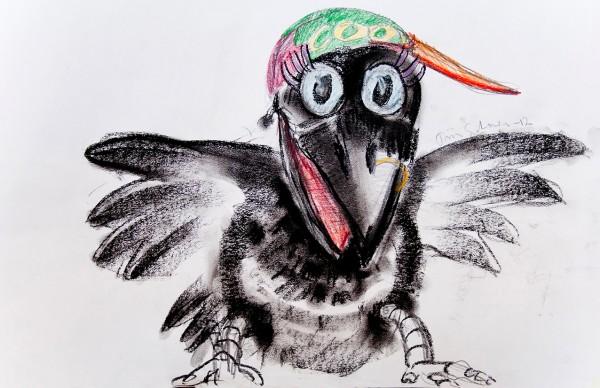 Skisse av kråke-dukken med flerfarget caps