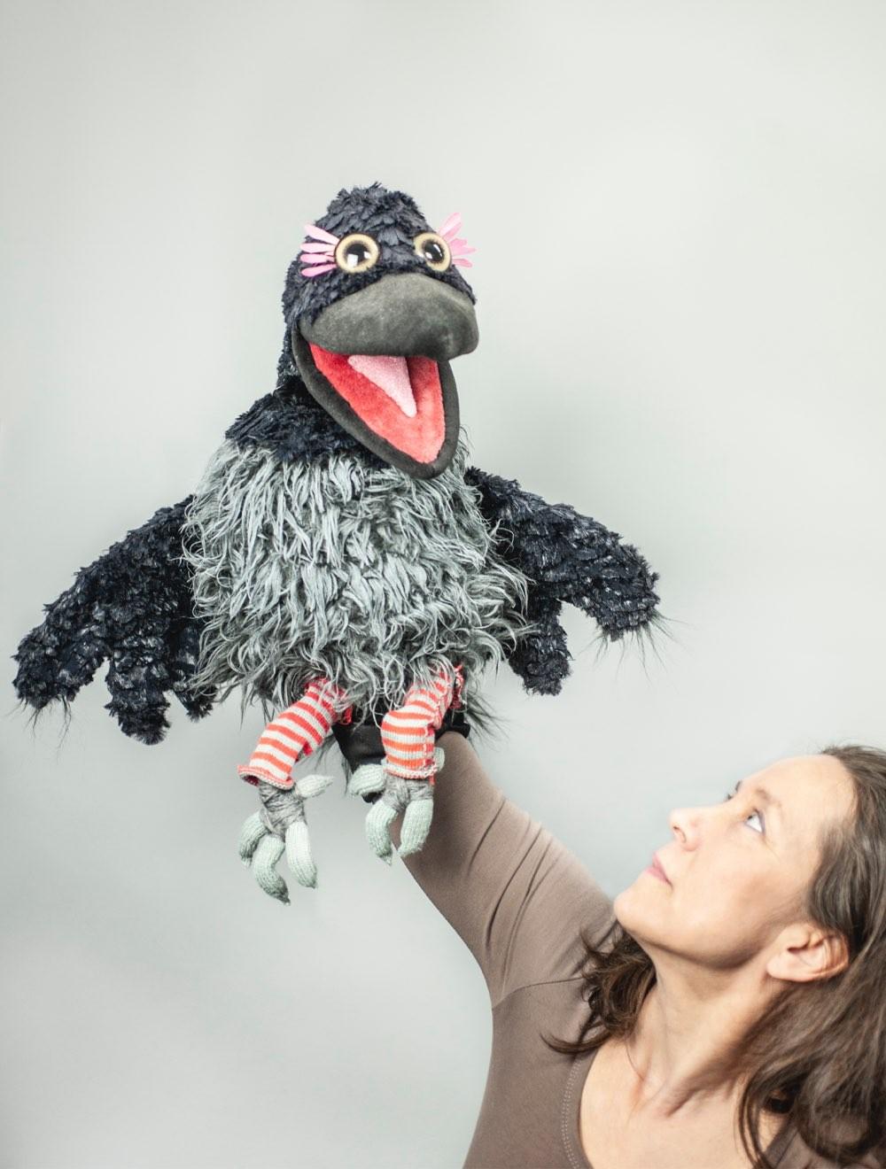 Tiina holding TV puppet Gárja