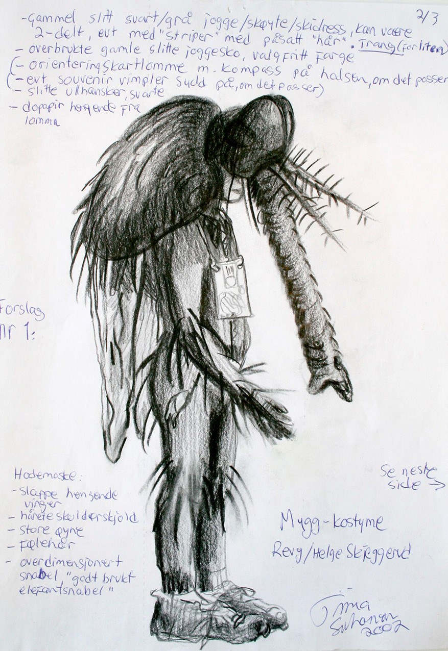 A sketch of the mosquito-costume in black and white