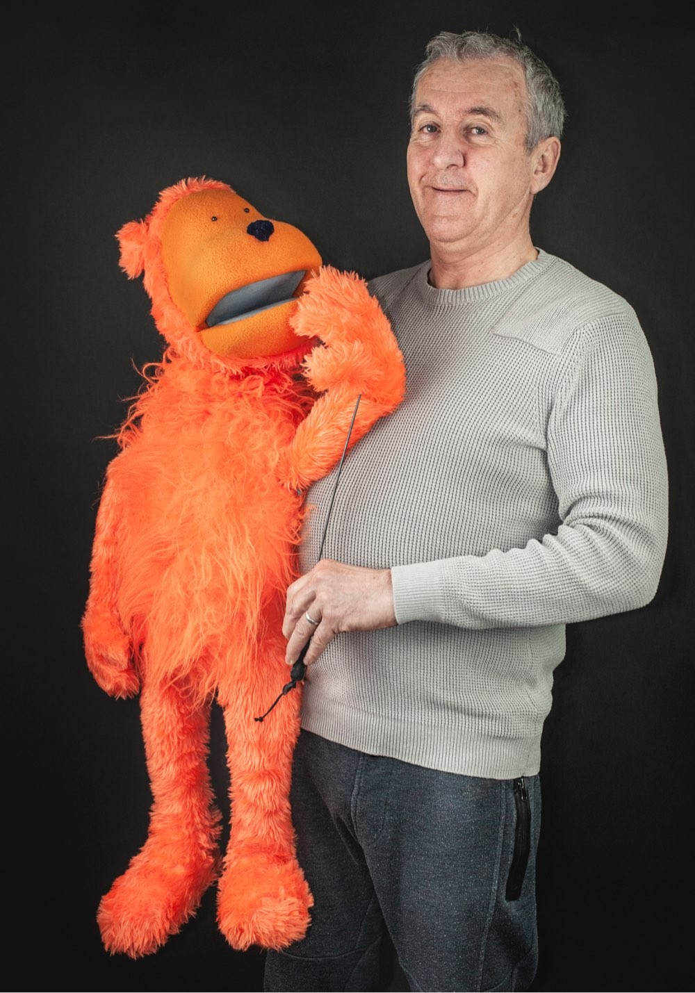 Puppet maker Sean Morrissey with the Crisis Advisor
