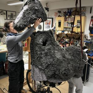 Testing the height of the donkey head above the body.