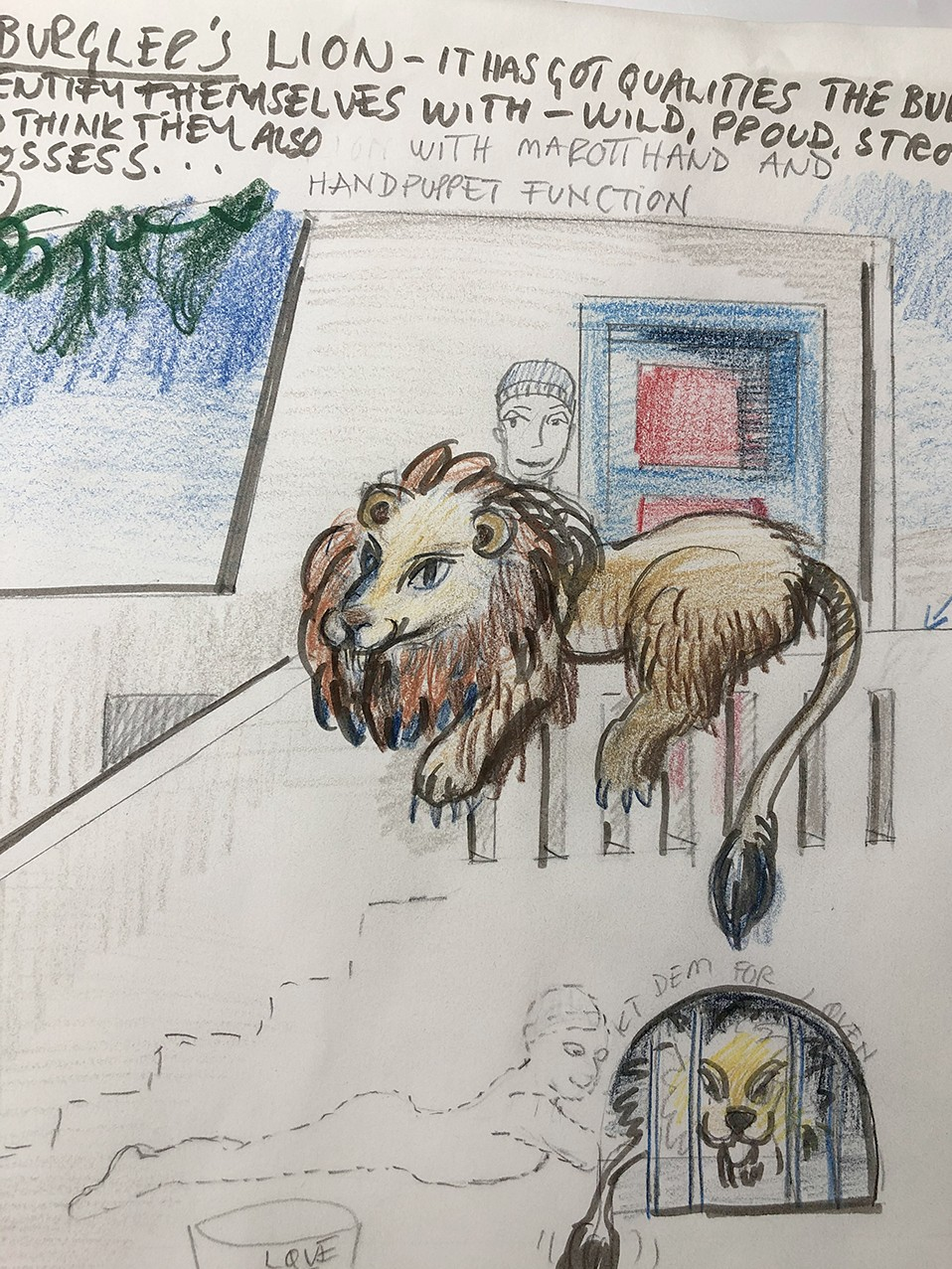 A sketch of the lion puppet.