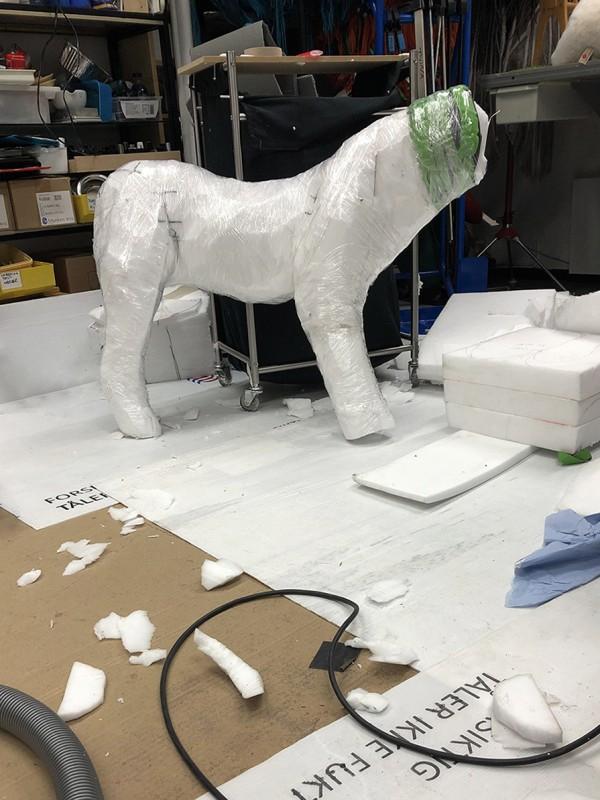 A foam body of a lion.