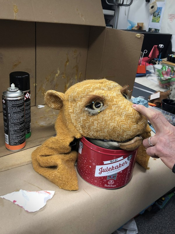 The lion puppet head in the making.